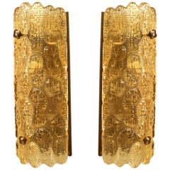 "Pair of Swedish 'Mid-20th Century' ""Crocodile"" Textured Amber Glass Wall Sconces"