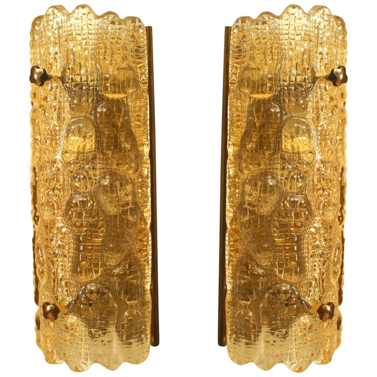 """Pair of Swedish 'Mid-20th Century' """"Crocodile"""" Textured Amber Glass Wall Sconces"""