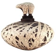Jacobson Ceramic Raku Vessel with Sculptural Lid