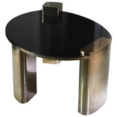 New Moon Hand-Patinated Brass and Wood Veneer Cocktail Coffee Table
