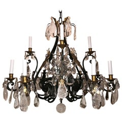 Wonderful Large Maison Baguès Louis XV French Iron Gilt Rock Crystal Chandelier