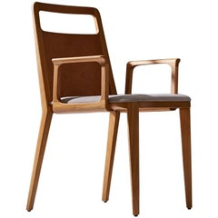 Minimalist Hardwood Chair with Leather Upholstery Seating