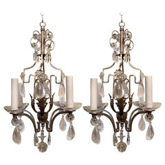 Baguès Pair French Silver Gilt Rock Crystal Beaded Petite Four-Arm Chandeliers