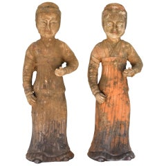 Pair of Pottery Figures, Han Style Terracotta Governess