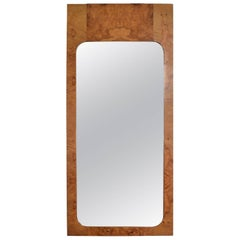 Mid-Century Modern Wall Mirror in Burl Wood after Milo Baughman