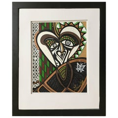 "Framed Abstract ""The Curious Poet"" Mixed Media by Laurel Rosenberg"