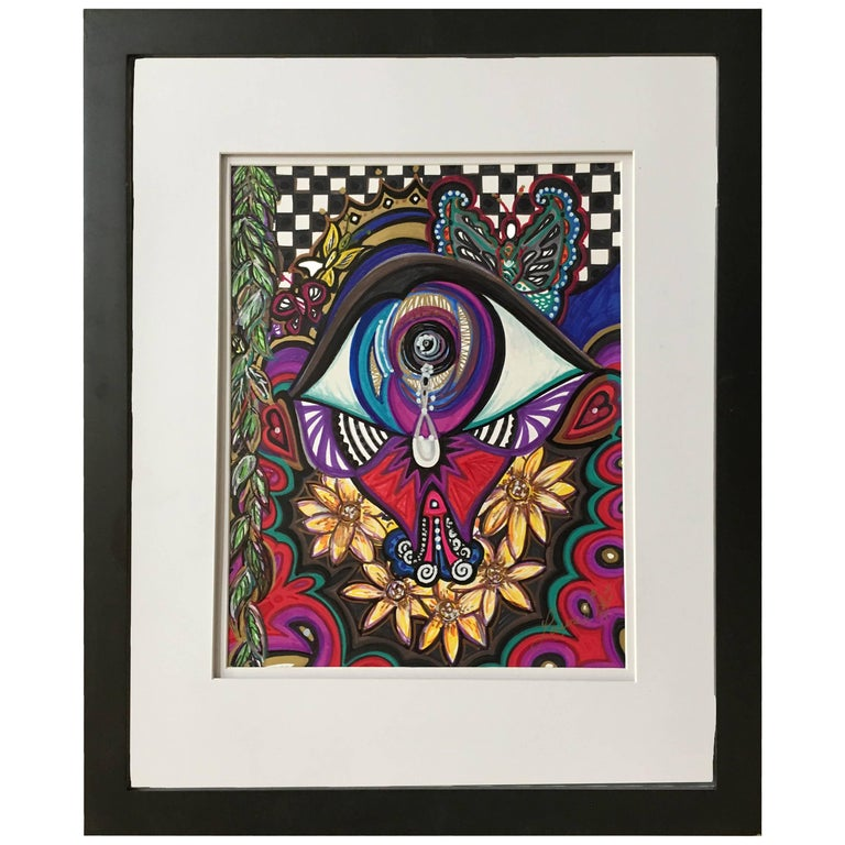 """Framed Abstract """"A Tearful Moment II"""" Mixed-Media by Laurel Rosenberg"""