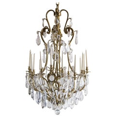 Massive French Louis XV Style Gilt Bronze Crystal Chandelier, 1910