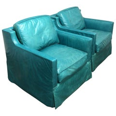 Pair of Custom Turquoise Leather Swival Armchairs