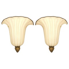 "Pair of Italian 1940s Style Murano ""Gabbiani"" Gold Dusted Glass Wall Sconces"