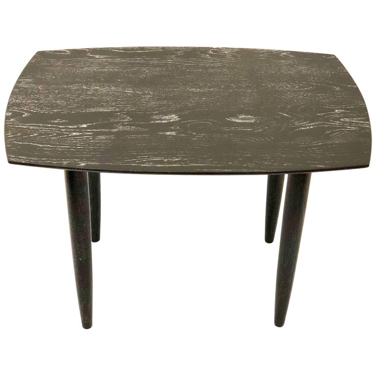 Cerused Solid Oak Midcentury California Design End Table by Ace of California For Sale