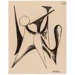 "Alexander Calder Signed & Dated India Ink on Paper ""Stabile Drawing"", USA 1946"