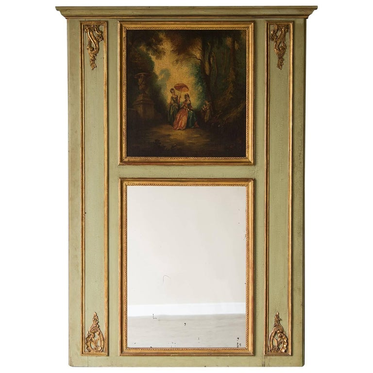 Antique French Louis XVI Style Painted Trumeau Mirror, France, circa 1850