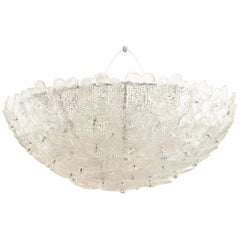Italian 1940s Style 'Modern' Murano Flush Mounted Dome Shaped Ceiling Fixtures