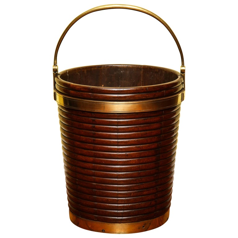 George III Brass Banded Mahogany Peat Bucket, English, circa 1800 In Stock