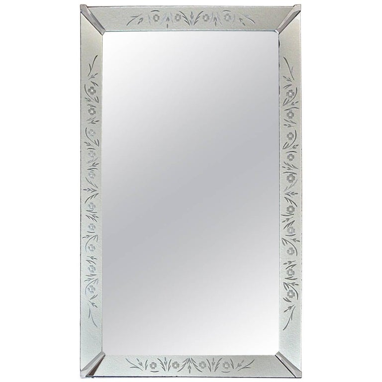Art Deco Etched Gold Wall Mirror For Sale at 1stdibs