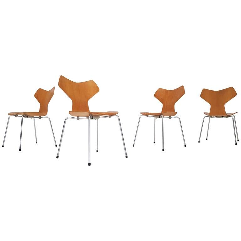 Four Model 3130 Grand Prix Chair by Arne Jacobsen for Fritz Hansen