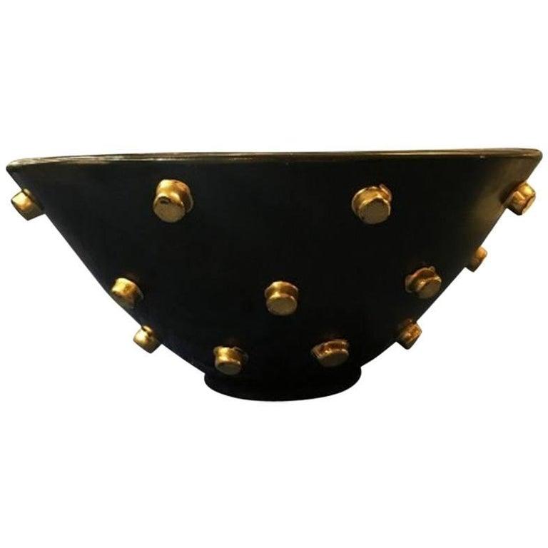 Aldo Londi Bitossi 1960s Italian Mid-Century Modern Studded Three-Sided Bowl
