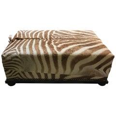 Burchell African Zebra Skin Large Nailhead Ottoman