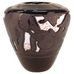 Surjan Cameo Glass Vase with Elephant Motif