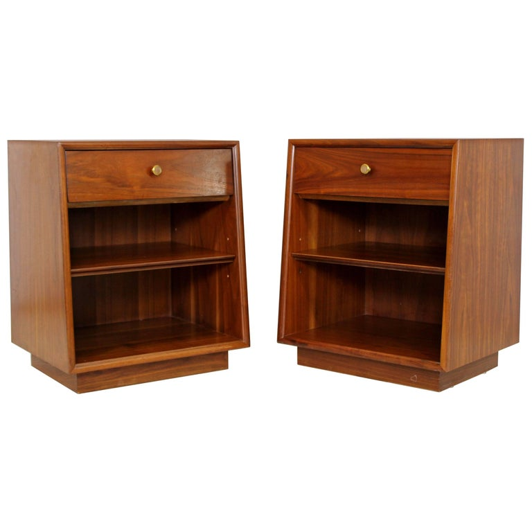 Mid-Century Modern Kipp Stewart Drexel Declaration Walnut Pair of Nightstands