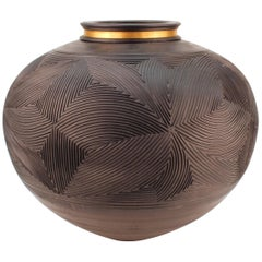 Monumental Pottery Geometric Vase in Black with Gilt Metal Applied Neck