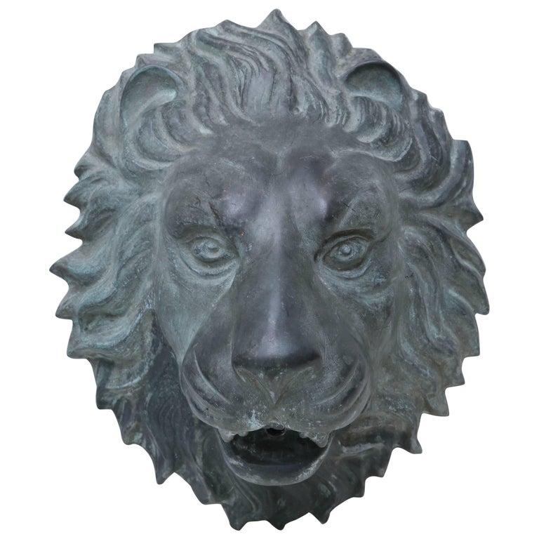 Bronze Lion's Head Fountain Spout