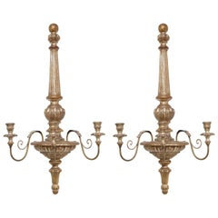 Pair of Gilded Wood Sconces