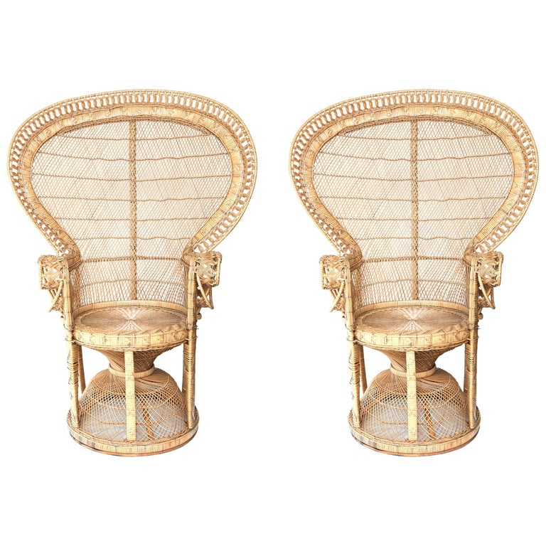 Pair of Vintage Wicker Peacock Chairs