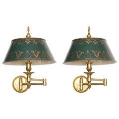 Pair of Tole and Brass Dual Swing Wall Sconces