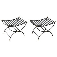 Pair of Black Iron Campaign Style Benches