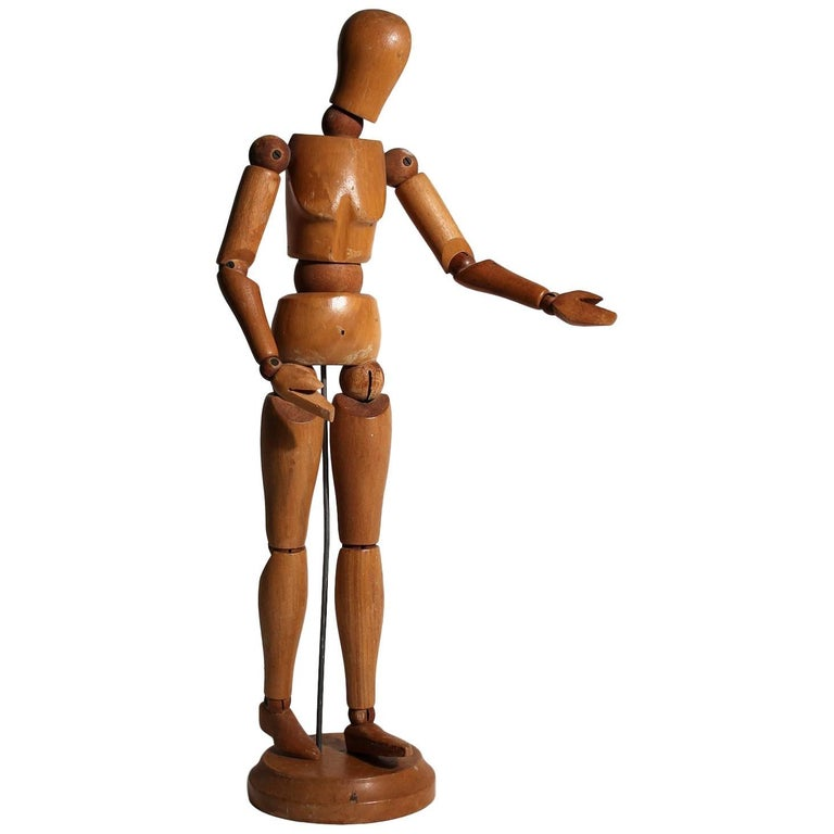 Antique Articulated Wood Nude Artist Figural Model Sculpture with Stand For Sale
