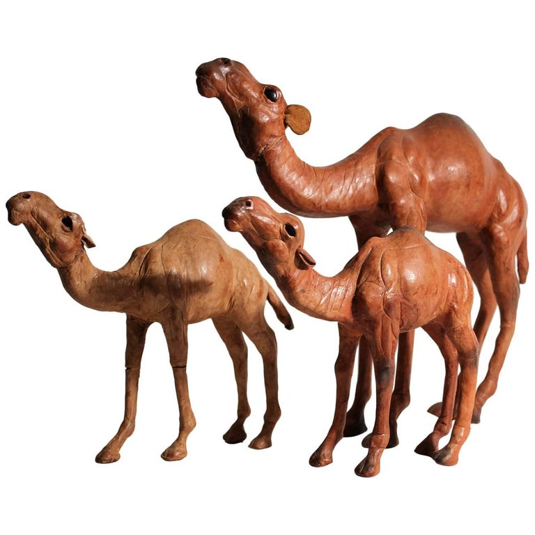Antique Set of Three Italian Leather Camel Figurines Sculptures For Sale