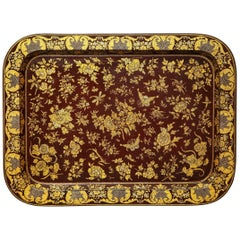 Large Regency Wine Colored Papier Mâché Rectangular Dished Tray, circa 1830