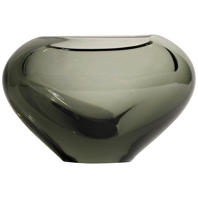 "Holmegaard Per Lutken Large Heart Shaped Smoky Gray ""Minuet"" Art Glass Vase For Sale"