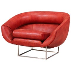 Milo Baughman Leather and Chrome Tub Chair for Thayer Coggin
