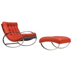 Renato Zevi Chrome and Leather Rocking Chair with Ottoman for Selig