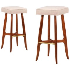 Midcentury Walnut and Brass Bar Stools