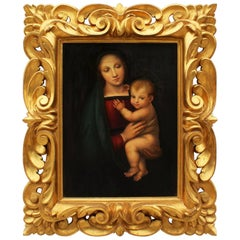 """Italian 19th Century Renaissance Revival Oil on Canvas of a """"Madonna and Child"""""""