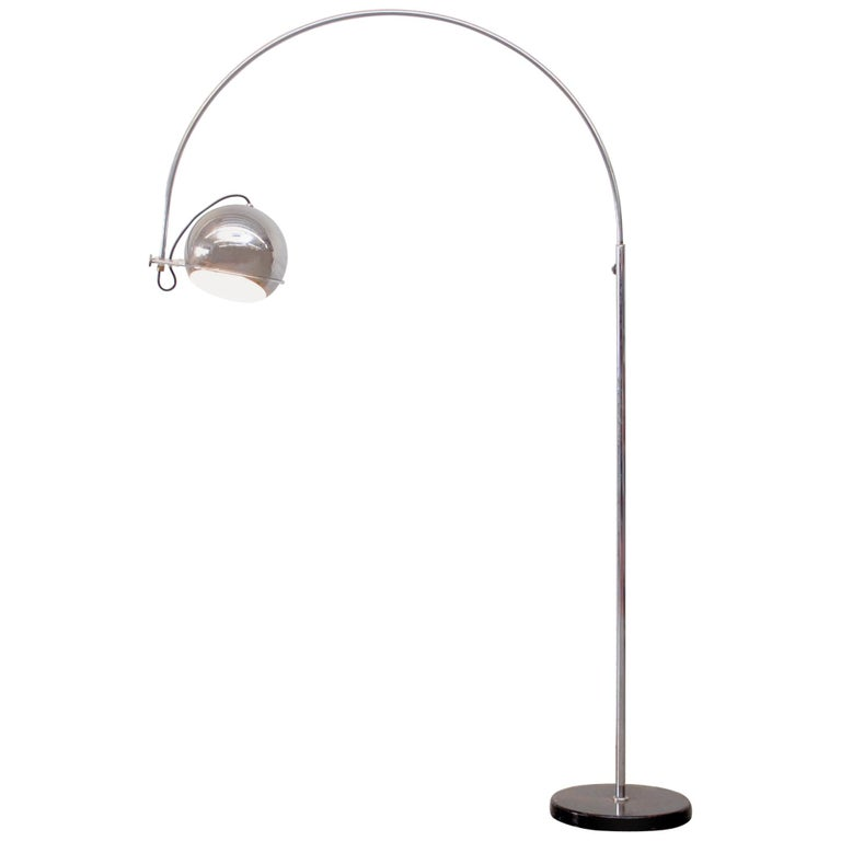 Large Gepo Standing Chrome Arc Lamp For Sale