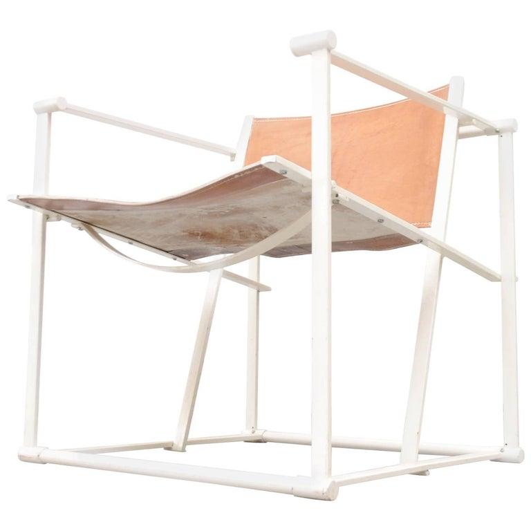 Pastoe Cube Lounge Chair by Radboud Van Beekum in Natural Leather For Sale