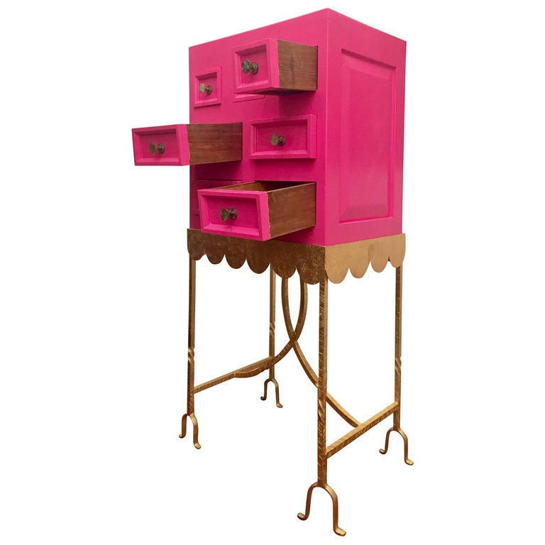 1970s Pink Lacquered Cabinet For Sale