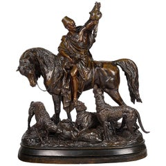 Large 19th Century French Bronze of Arb Hunter