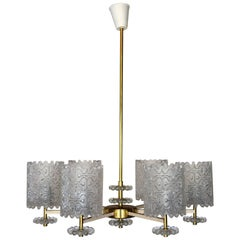 Carl Fagerlund Attributed Hanging Brass and Glass Chandelier for Orrefors