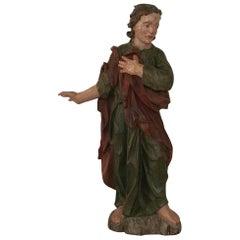 18th Century Carved Wooden Baroque Saint Figure