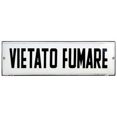 1930s Vintage Italian Enamel Metal Curved Sign Vietato Fumare or No Smoking