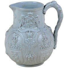 1836s Victorian William Brownfield Blue-Grey Four Nations Albion' Stoneware Jug