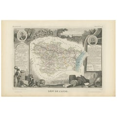 Antique Map of Aude 'France' by V. Levasseur, 1854
