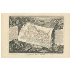 Antique Map of Bes du Rhône 'France' by V. Levasseur, 1854