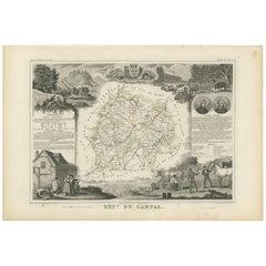 Antique Map of Cantal 'France' by V. Levasseur, 1854